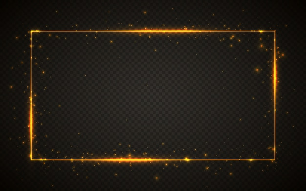 Moldura dourada brilhante com efeitos de luzes. banner retângulo brilhante