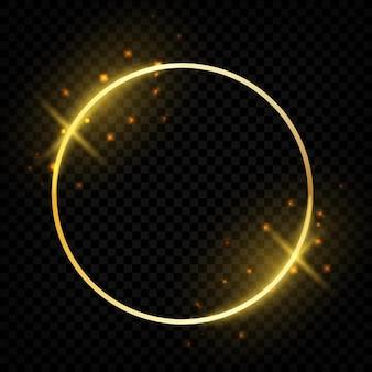 Moldura dourada brilhante do círculo. borda redonda brilhante com cartões comemorativos de brilhos mágicos. modelo de vetor formas redondas festivas de ouro em fundo transparente
