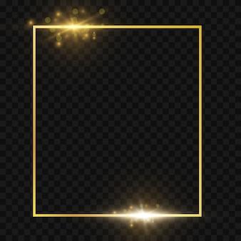Moldura dourada brilhante em fundo transparente