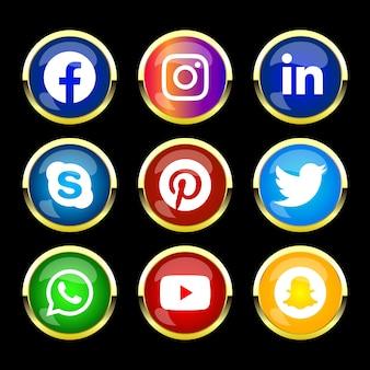 Moldura dourada brilhante redonda botão de ícone de mídia social com efeito gradiente definido