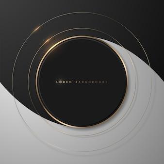 Moldura dourada brilhante redonda em fundo preto e branco