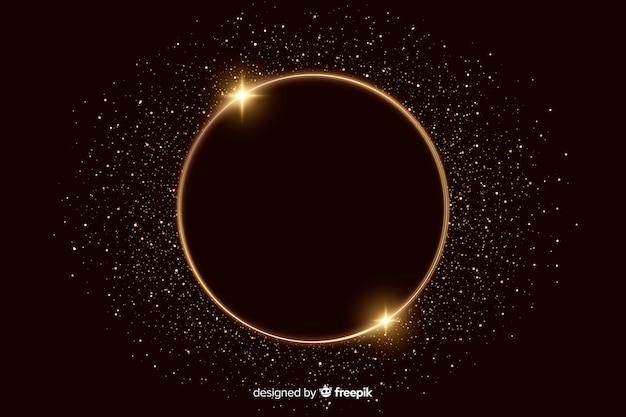 Moldura dourada cintilante em fundo escuro