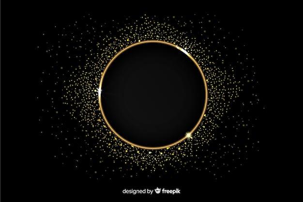 Moldura dourada cintilante em fundo preto