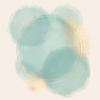 Moldura dourada circular em aquarela abstrata