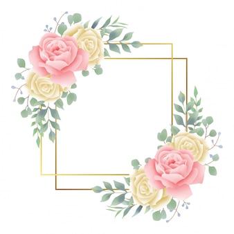 Moldura dourada com aquarela rosa