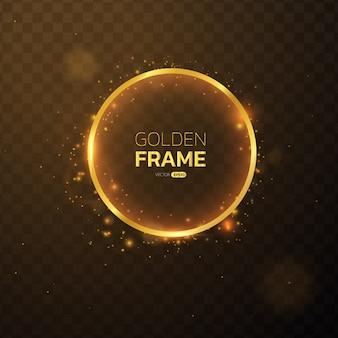 Moldura dourada com banner circular de efeitos de luzes.