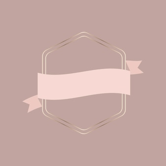 Moldura dourada com banner de fita de ouro rosa
