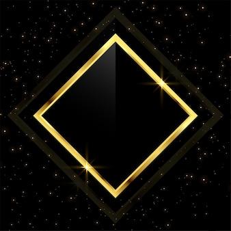 Moldura dourada com brilhos de glitter espalhados
