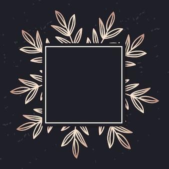 Moldura dourada com capa elegante de folhas
