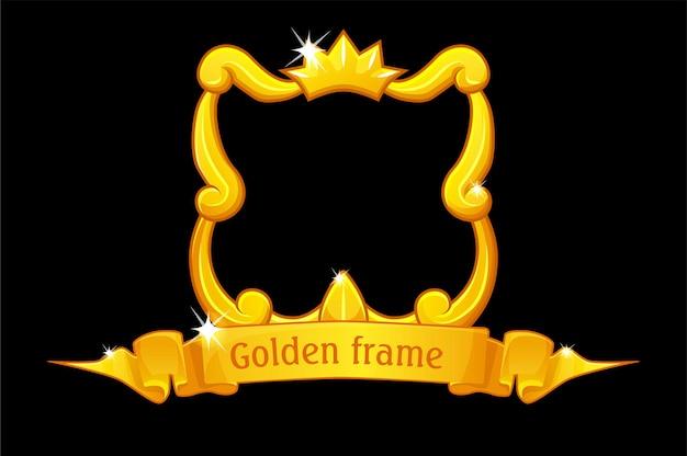 Moldura dourada com coroa, modelo quadrado com fita de prêmio para jogo de interface do usuário