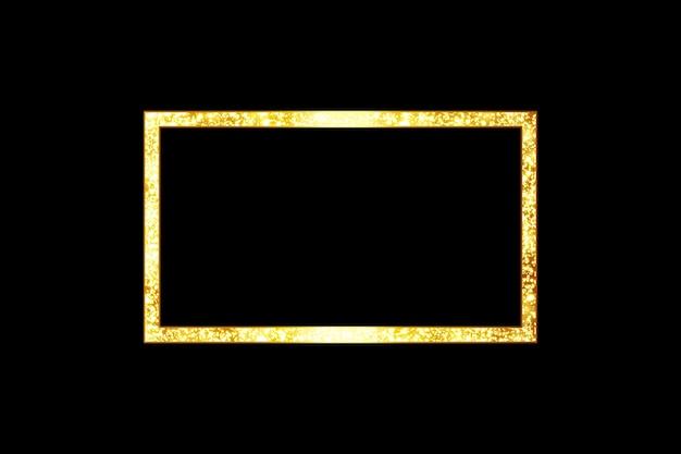 Moldura dourada com efeitos de luz em fundo preto
