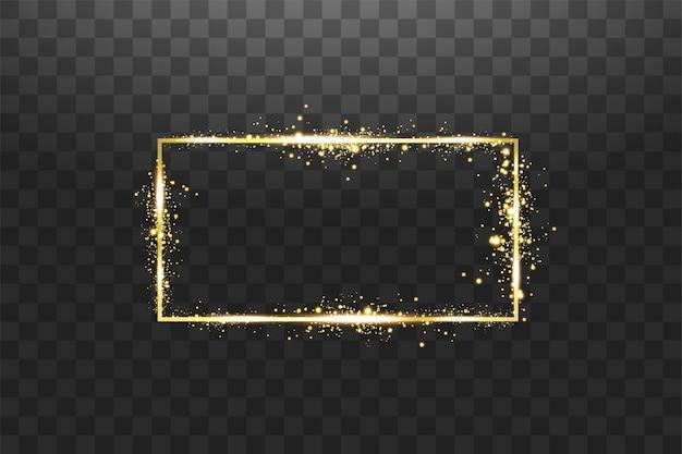 Moldura dourada com efeitos de luz em fundo transparente