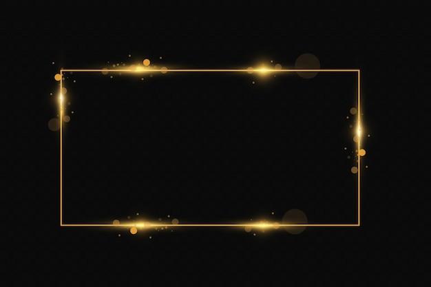 Moldura dourada com efeitos de luz