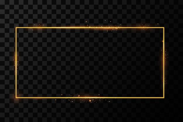 Moldura dourada com efeitos de luzes. bandeira de retângulo brilhante. isolado. ilustração