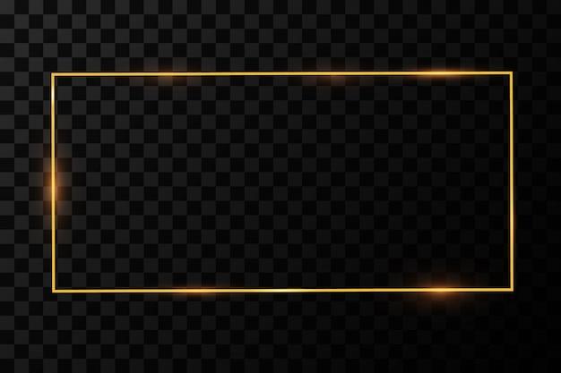 Moldura dourada com efeitos de luzes. bandeira de retângulo brilhante. isolado