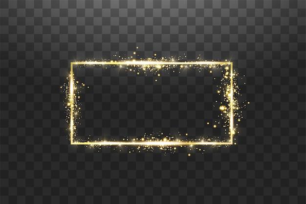 Moldura dourada com efeitos de luzes. banner de retângulo brilhante. isolado em fundo transparente.
