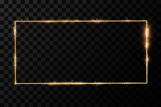 Moldura dourada com efeitos de luzes. retângulo brilhante. isolado em fundo transparente preto.