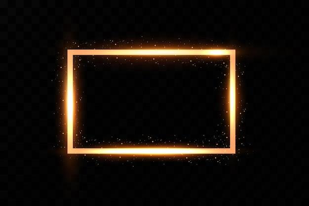 Moldura dourada com faíscas de fogo. moldura dourada com efeitos de luz.