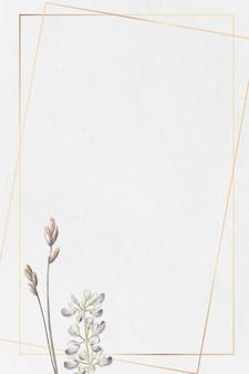 Moldura dourada com flor de tremoço meio arbustivo