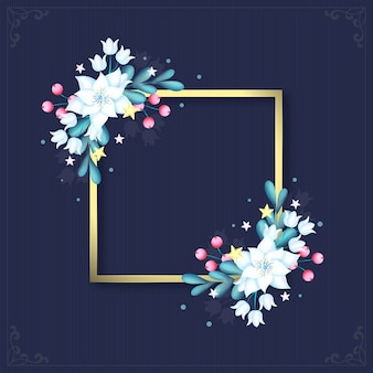 Moldura dourada com flores de inverno