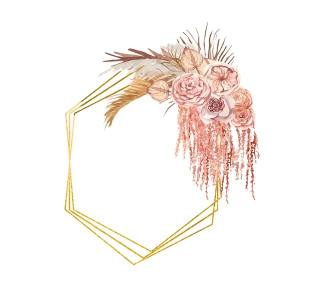 Moldura dourada com flores em aquarela de boho