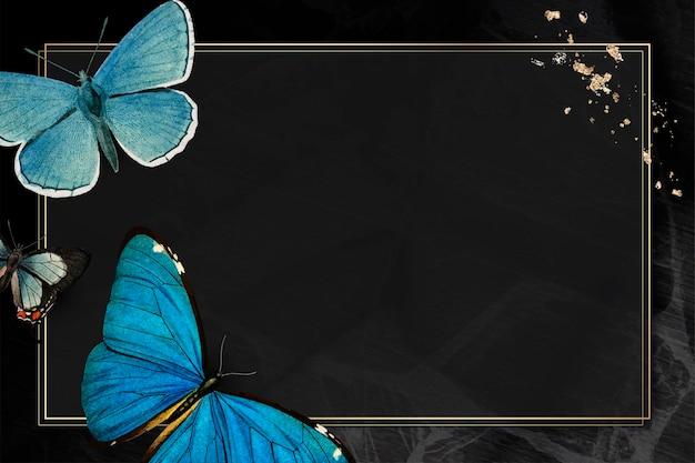 Moldura dourada com fundo de borboletas azuis