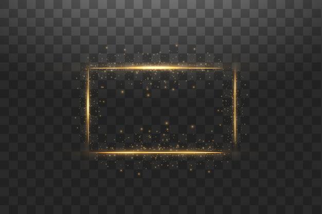 Moldura dourada com fundo de efeitos de luzes