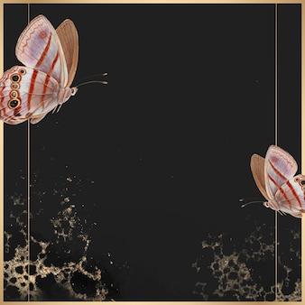 Moldura dourada com fundo estampado de borboleta rosa