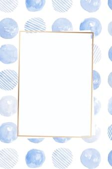Moldura dourada com fundo estampado sem costura de círculo azul índigo