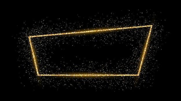 Moldura dourada com glitter, brilhos e chamas em fundo escuro. pano de fundo vazio de luxo. ilustração vetorial.
