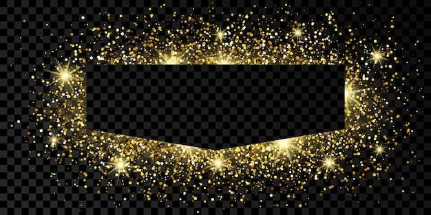 Moldura dourada com glitter, brilhos e reflexos em fundo escuro e transparente. pano de fundo vazio de luxo. ilustração vetorial.