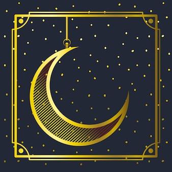 Moldura dourada com lua crescente pendurado