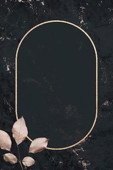 Moldura dourada com padrão de folhagem em vetor de fundo texturizado de mármore preto