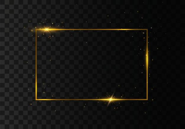 Moldura dourada com sombras em fundo transparente
