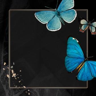 Moldura dourada com vetor de fundo estampado de borboletas azuis