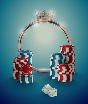 Moldura dourada de casino redonda com coroa