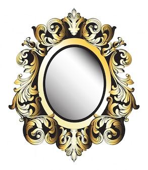 Moldura dourada de espelho barroco