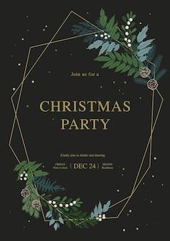Moldura dourada de natal com confete, galhos de pinheiro, plantas de inverno, bagas de azevinho, cones. convite para festa de natal e feliz ano novo.