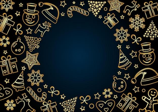 Moldura dourada de natal em fundo azul escuro, espaço para seu texto. desenho de contorno. ilustração vetorial