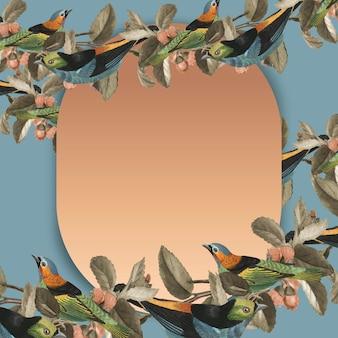 Moldura dourada de vetor de borda de pássaro com espaço de design