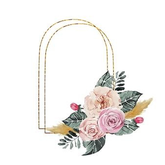 Moldura dourada decorada com aquarela rosas cor de rosa