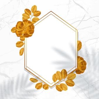 Moldura dourada decorativa. guirlanda floral com folhas de ouro