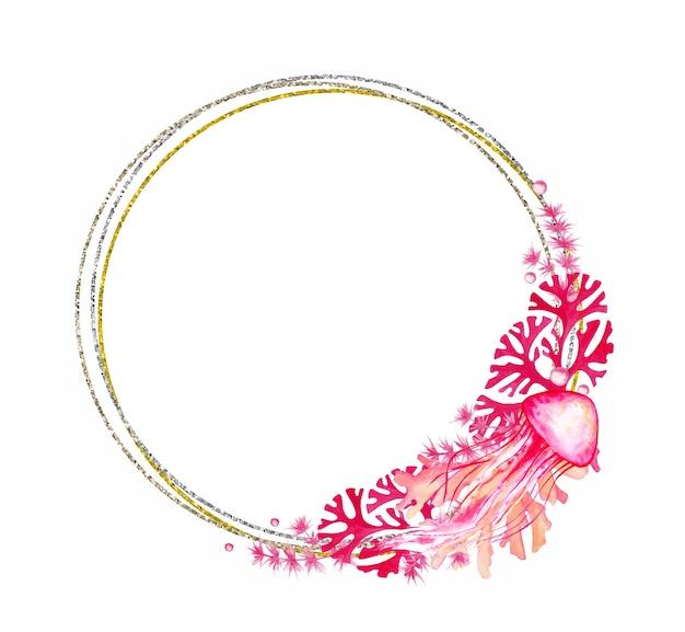 Moldura dourada e prateada decorada com medusas e corais, nas cores rosa. ilustração em aquarela