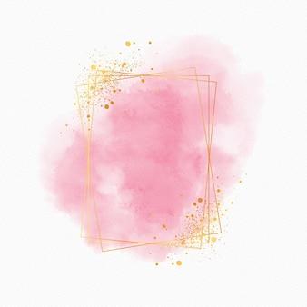 Moldura dourada em aquarela luxuosa