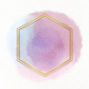 Moldura dourada em aquarela pastel