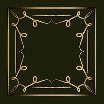 Moldura dourada em estilo art déco com ornamentos em fundo verde