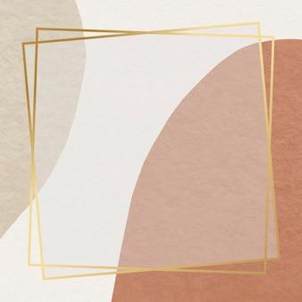 Moldura dourada em tom de terra padrão abstrato