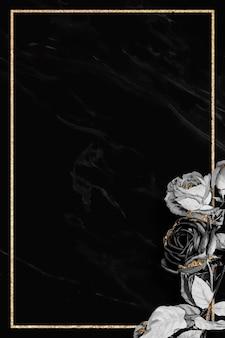 Moldura dourada floral em branco