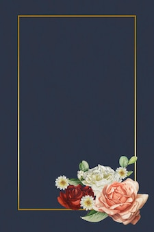 Moldura dourada floral em fundo azul