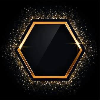 Moldura dourada hexagonal com fundo brilhante